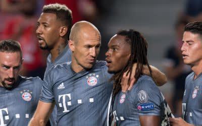 Franck Ribery (l-r), Jerome Boateng, Arjen Robben, Torschütze Renato Sanches und James Rodriguez von München jubeln über das Tor zum 0:2.