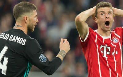 Sergio Ramos (Real Madrid) und Thomas Müller (FCB) in der Allianz Arena.