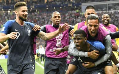 Jubel bei Frankreich im Spiel gegen Kroatien.