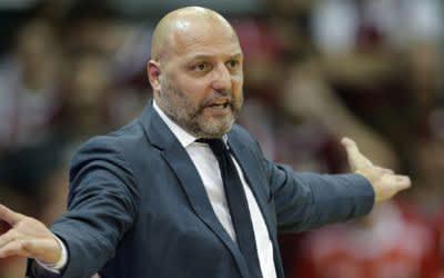 Basketball: FC Bayern Münchens Trainer Sasa Djordjevic beim Eurocup-Halbfinale gegen Darussafaka Istanbul im März 2018