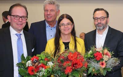 Der neue 2. Bürgermeister Manuel Pretzl, Oberbürgermeister Dieter Reiter, Stadtbaurätin Dr. (I) Elisabeth Merk und der künftige Kulturreferent Anton Biebl