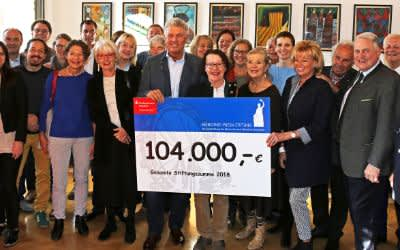 OB Reiter mit den Spendenschecks der Stiftung der Wiesnwirte