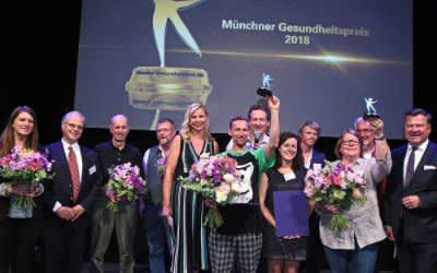 Münchner Gesundheitspreis 2018: 5. von links: Gesundheitsreferentin Stephanie Jacobs, 7. von links: Eckart von Hirschhausen, 1. von rechts: Bürgermeister Josef Schmid