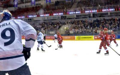 Spielszene im Match Minsk gegen den EHC.