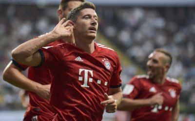 Robert Lewandowski von Bayern bejubelt sein Supercup Tor