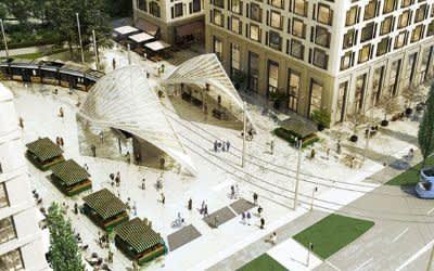Visualisierung: Einbettung der Tramhaltestelle am Schwabinger Tor in das architektonische Gesamtkonzept des neuen Stadtquartiers