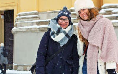 Schneeeinbruch am Odeonsplatz
