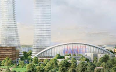 Visualisierung der Paketposthalle mit geplanten Hochhäusern