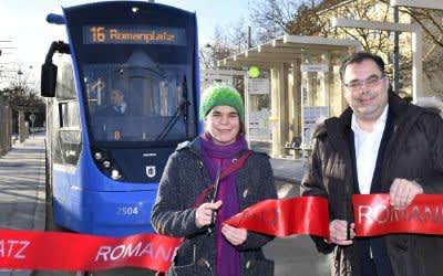 Eröffnung der Tramhaltestelle Romanplatz