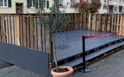 Die neue Freischankfläche beim Holzkranich