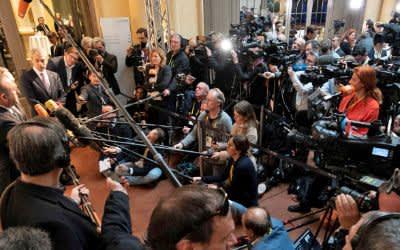 Eine Pressekonferenz bei der SiKo 2020.