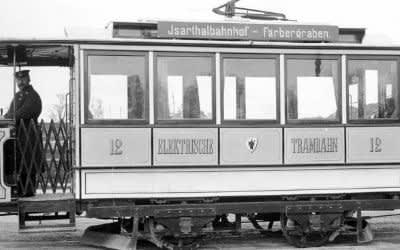 Elektrische Tram in München im Jahr 1895