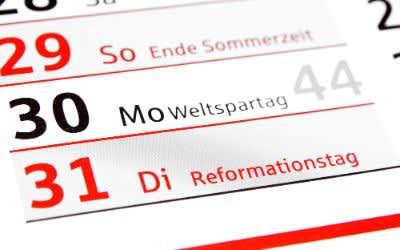 Kalenderblatt mit Reformationstag