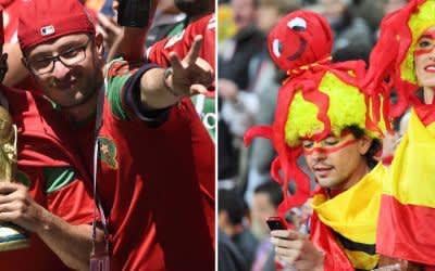 Marokkanische und spanische Fans