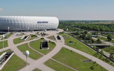 Die Allianz Arena aus der Luft aufgenommen