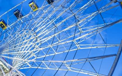 Riesenrad Hi Sky am Abend