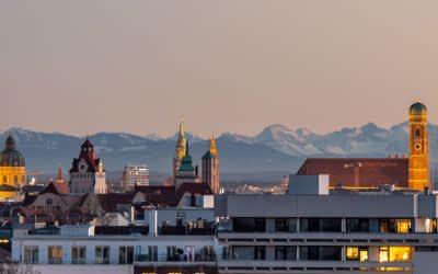 Aussicht vom Luitpoldhügel auf München