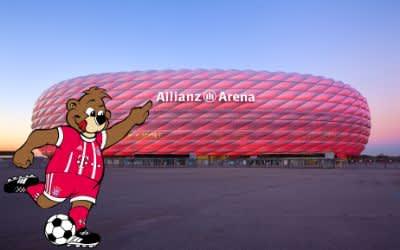 Außenansicht der Allianz Arena mit Berni