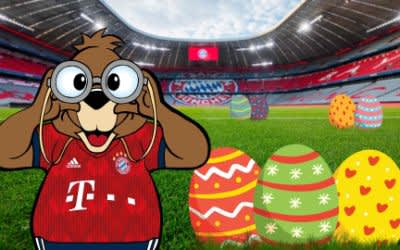 Berni mit Ostereiern in der Allianz Arena
