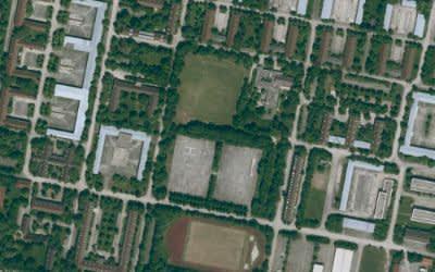 Luftaufnahme der Bayernkaserne in München