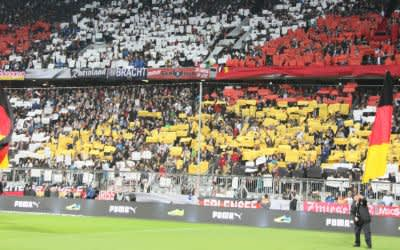 Choreographie der deutschen Fans in München: Stimmungsvoll soll es zugehen bei den Spielen der UEFA EURO 2020 in der Fußball-Arena München.