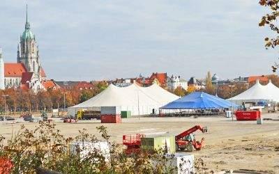 Der Aufbau für das Wintertollwood 2016 auf der Theresienwiese