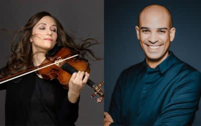 Lena Neudauer (Solistin) und Kevin John Edusei (Chefdirigent)