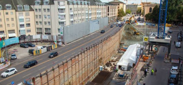 Bauarbeiten für die Tiefgarage Tom & Hilde am Thomas-Wimmer-Ring
