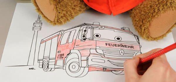 Die Malvorlage der Feuerwehr München für Kinder