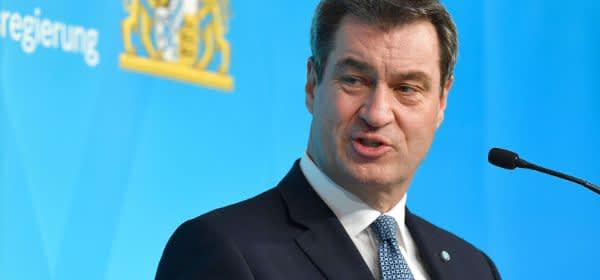 Ministerpräsident Markus Söder bei einer Pressekonferenz