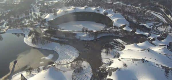 Olympiaturm-Aussicht bei Schnee