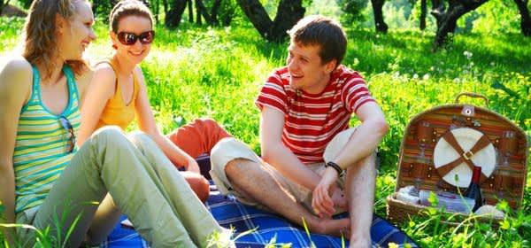 Junge Leute picknicken