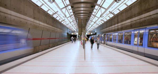 Die U-Bahn-Haltestelle Messestadt Ost