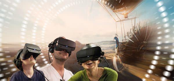 Menschen mit VR-Brillen, Pfauenwagen