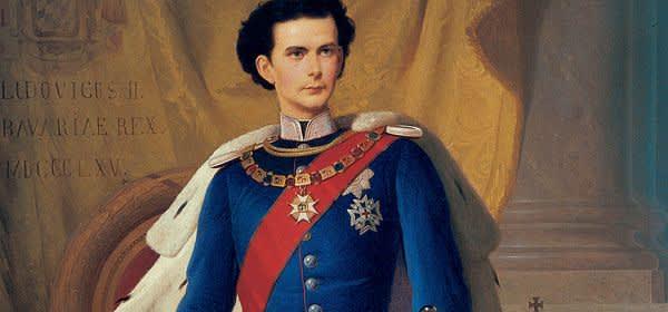 Gemälde von König Ludwig II. in bayerischer Generalsuniform mit Krönungsmantel