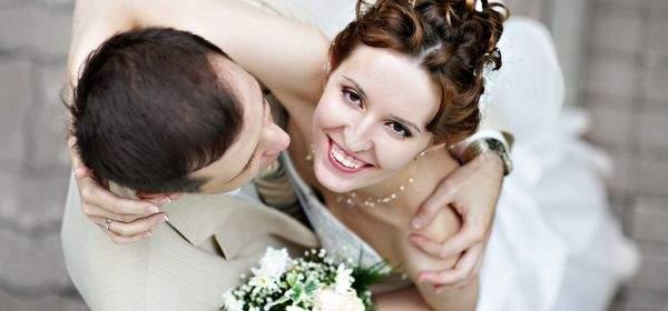 Hochzeitspaar von oben