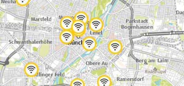 Übersicht über die WLAN-Standorte in München