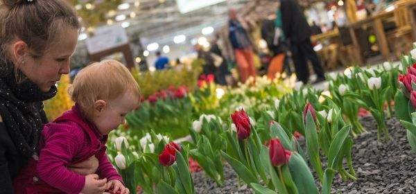 Schon die kleinsten Besucher erfreuen sich an der Blütenpracht der Schaugärten in der Halle C4.