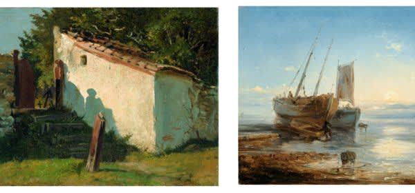 Natur als Kunst im Lenbachhaus - Dörflicher Friedhofseingang von Franz von Lenbach & Boote am Strand bei Ebbe von Theodore Gudin