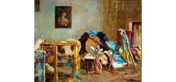 Felix Bürgers (1870–1934), Im Atelier II, um 1910 Öl auf Leinwand, 50x65 cm