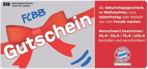 Geschenkgutschein für FC Bayern Basketball