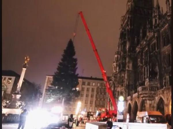 Zeitraffer-Screenshot vom Aufstellen des Münchnner Christbaums 2020