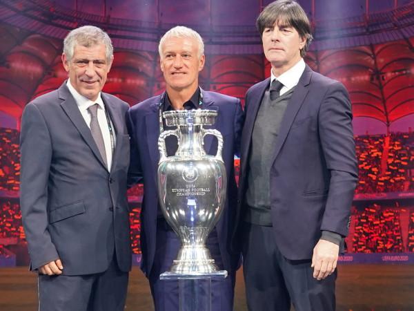 Fernando Santos, Didier Deschamps und Joachim Löw nach der Auslosung zur UEFA EURO2020