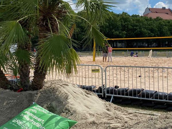 Das Beachvolleyball-Feld auf der Theresienwiese
