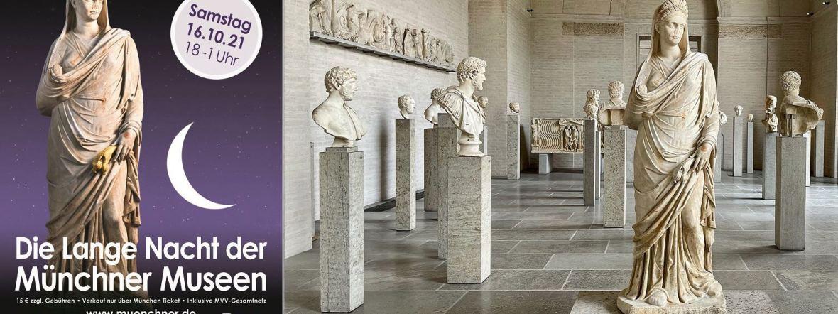 Das Plakat der Langen Nacht der Museen und ein Blick in die Glyptothek