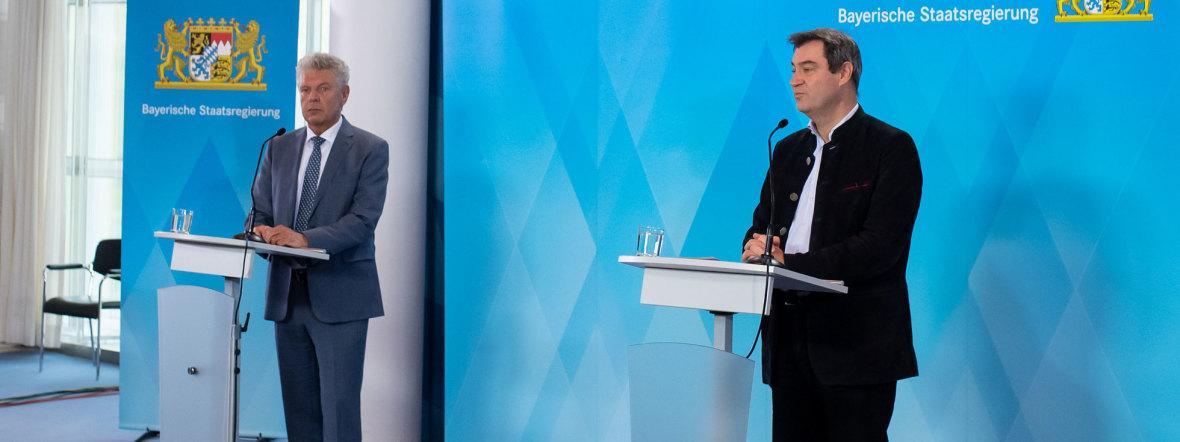 OB Dieter Reiter und Ministerpräsident Markus Söder verkünden das Aus für die Wiesn 2020