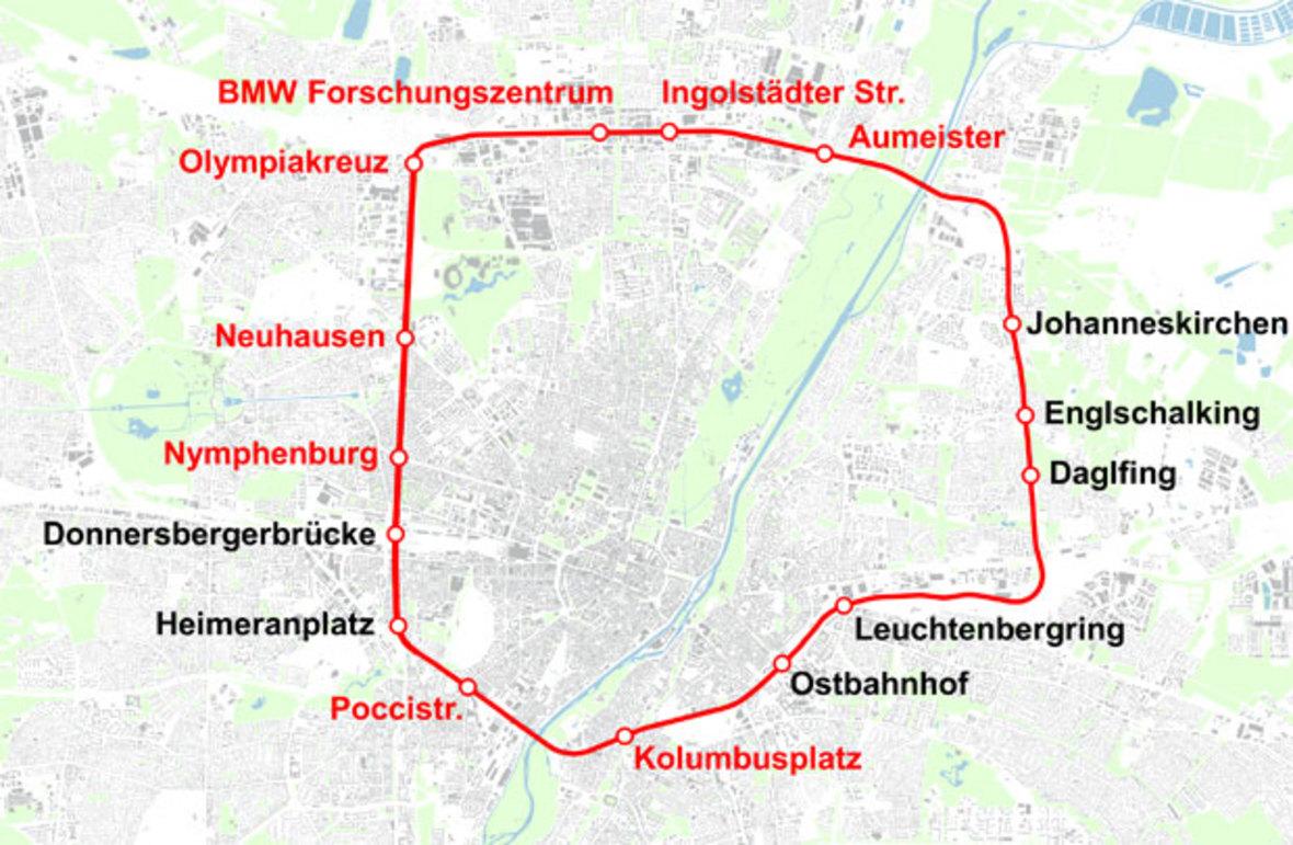Vorschlag für einen S-Bahn-Ring, Foto: Herzog, Atabay, OpenStreetMap