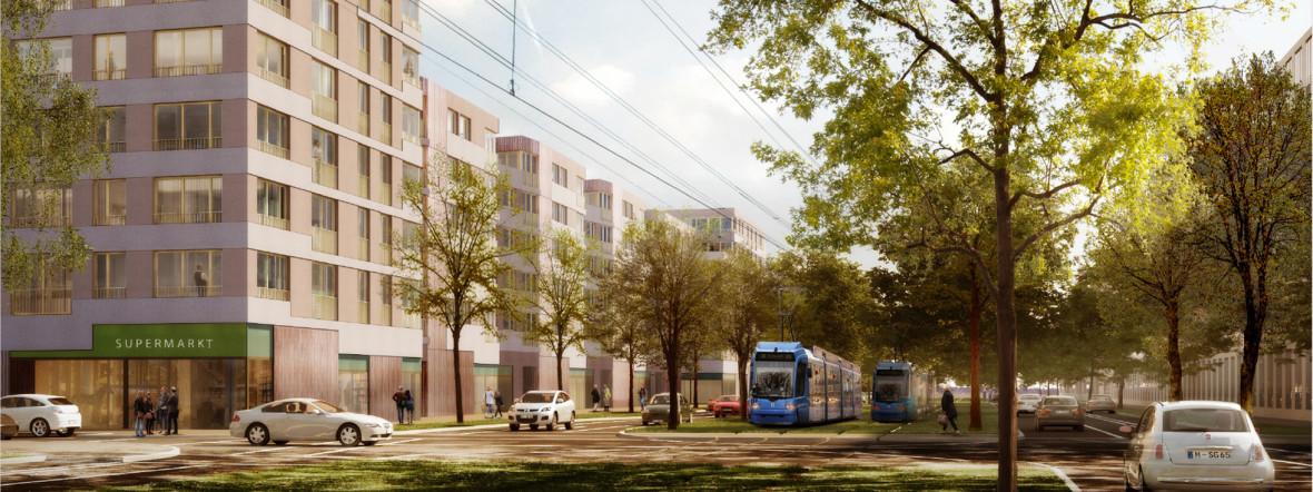 Visualisierung des GEWOFAG-Bauvorhabens in Freiham., Foto: 03 Architekten GmbH