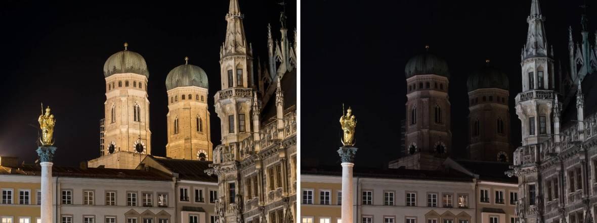 """Die Frauenkirche und das Rathaus in München, beleuchtet vor (links) und unbeleuchtet während der """"Earth Hour"""" am 25.3.2017, Foto: picture alliance / Matthias Balk/dpa"""