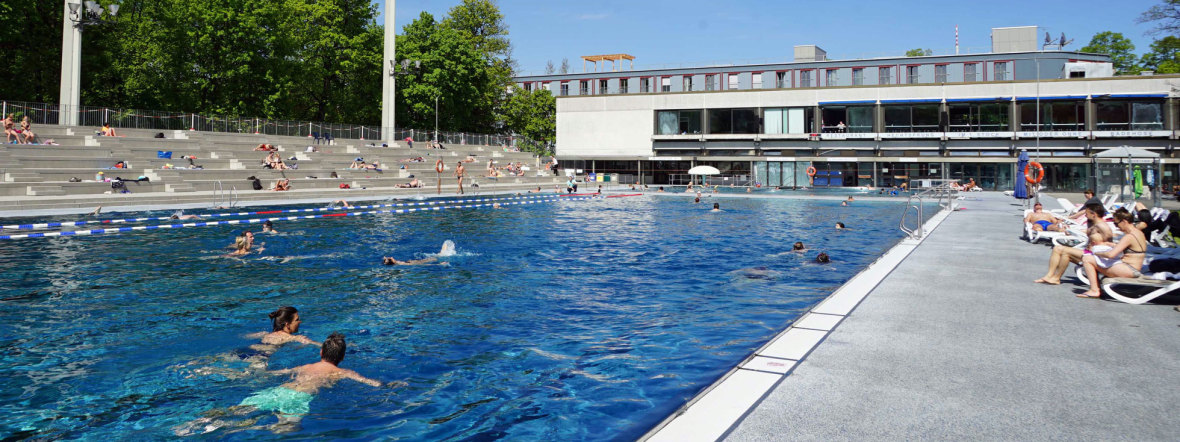 Schwimmer im Dantebad im Sommer, Foto: muenchen.de / Dan Vauelle